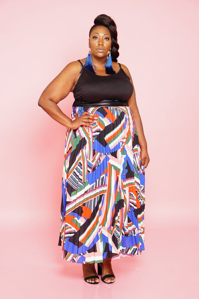 Geometric Print Maxi Skirt - 5 Sisters Luxe