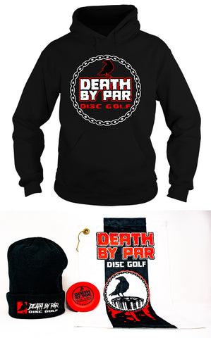 Death By Par Disc Golf Hoodie and Beanie Bundle