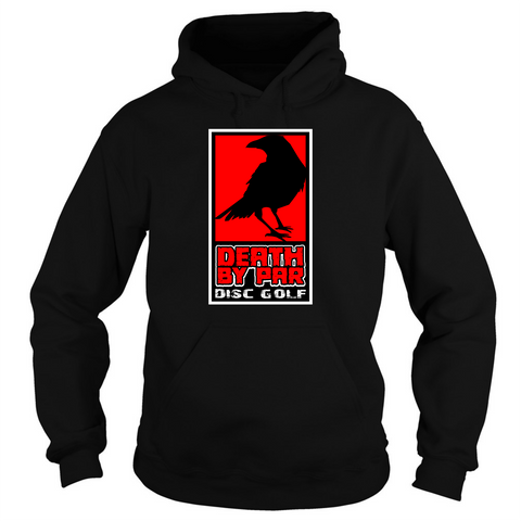 Death By Par Red Block Heavy Blend Disc Golf Hoodie