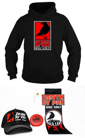 Death by Par Disc Golf Red Block Hoodie and Hat Bundle