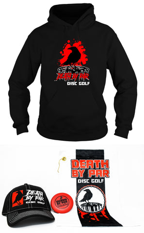 Death by Par Disc Golf Splatter Hoodie and Hat Bundle