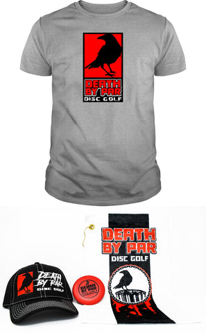 Death by Par Disc Golf Red Block T-Shirt and Hat Bundle