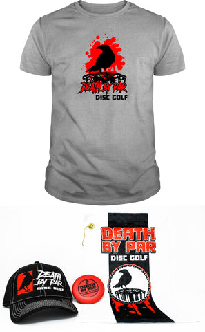 Death by Par Disc Golf Splatter T-Shirt and Hat Bundle