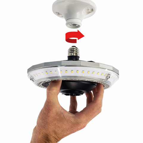 Garage LED lighting that screws in light a light bulb - Easy Installation