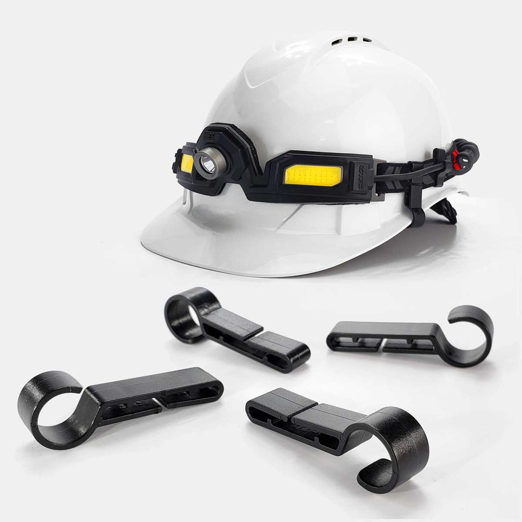 Flexit Headlamp 6.5 pro hard hat clips shown mounted by STKR Concepts