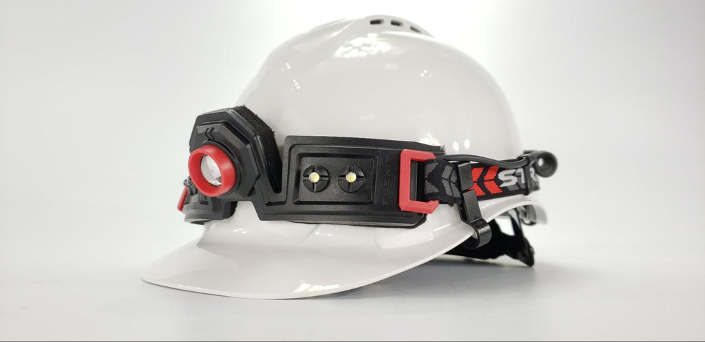 Flexit Headlamp 2.5 mounted on a hardhat studio pic by STKR