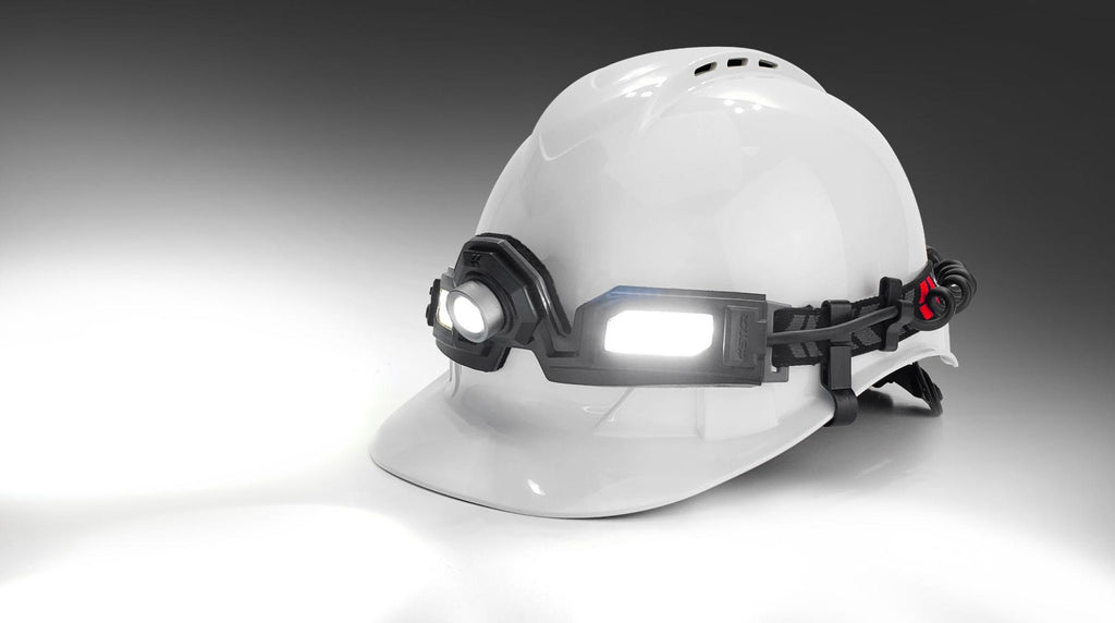 Flexit Headlamp 6.5 pro mounted on a hardhat studio pic by STKR