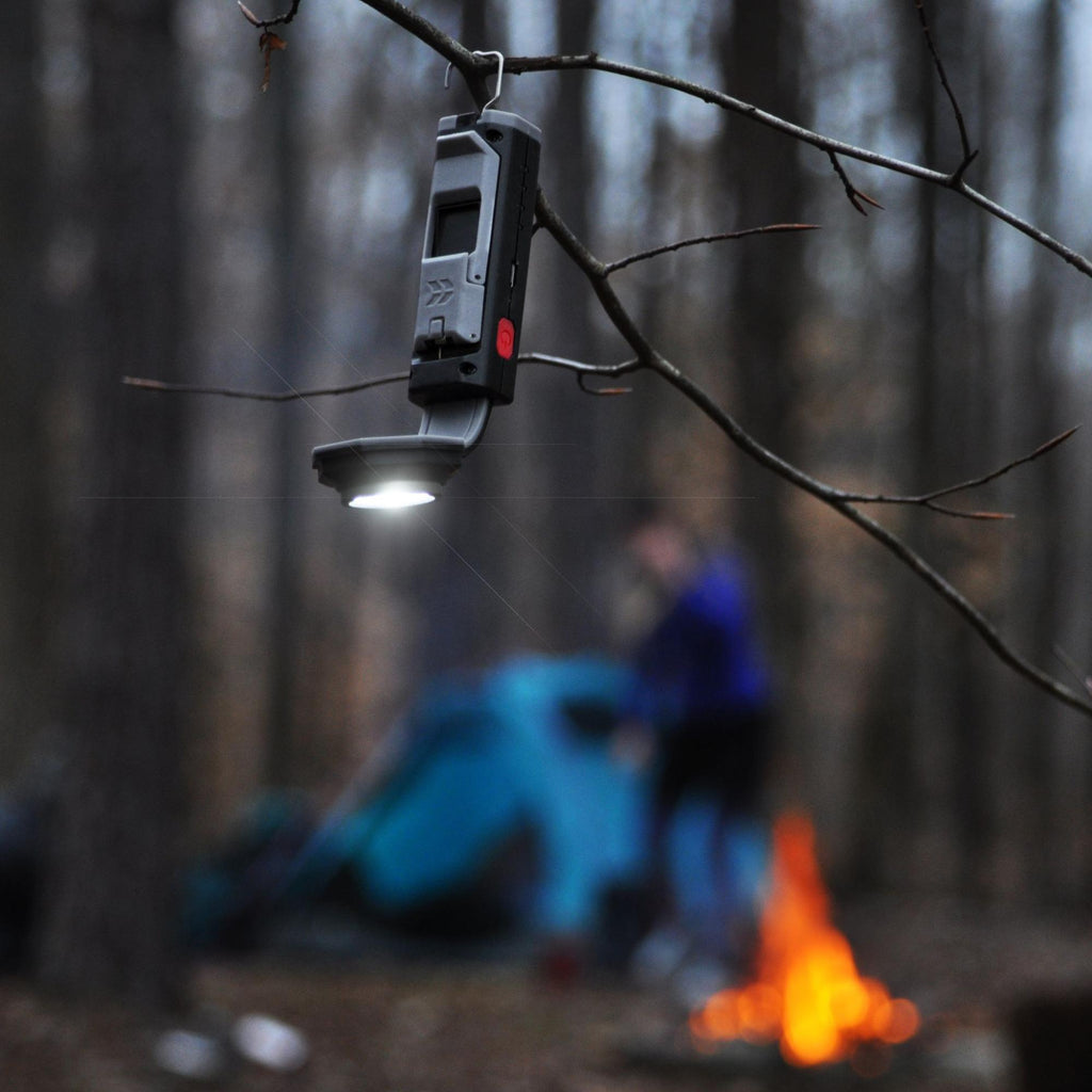 Flexit Pocket Light hanging from small tree branch unfocused camping scene in BG