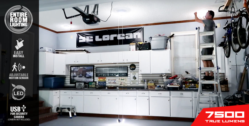 MPI (multi point illumination) DeLorean garage poster featuring entire room features and graphics including 7500 true lumens by STKR