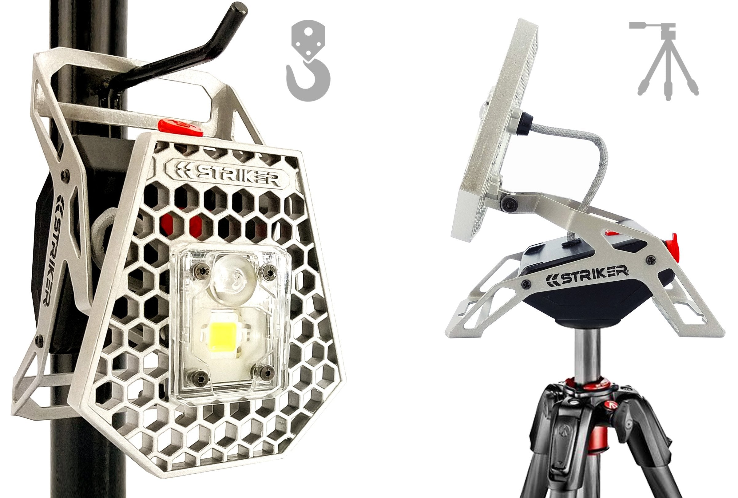 The Mobile Task Light features a Universal Tripod Mount and Hanging Holes