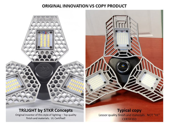 Original Trilight by STKR Concepts vs copy Tribright deformable triburst beyond bright
