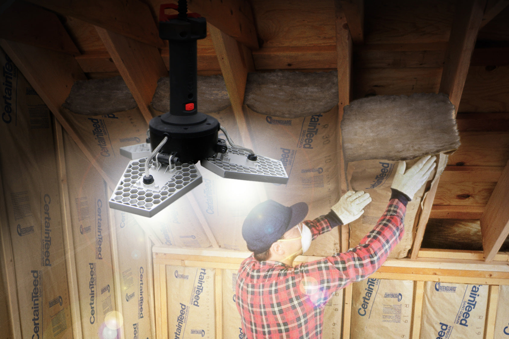 Light Up room during DIY Insulation with STKR Concepts TRiLIGHT ShopLight - Striker
