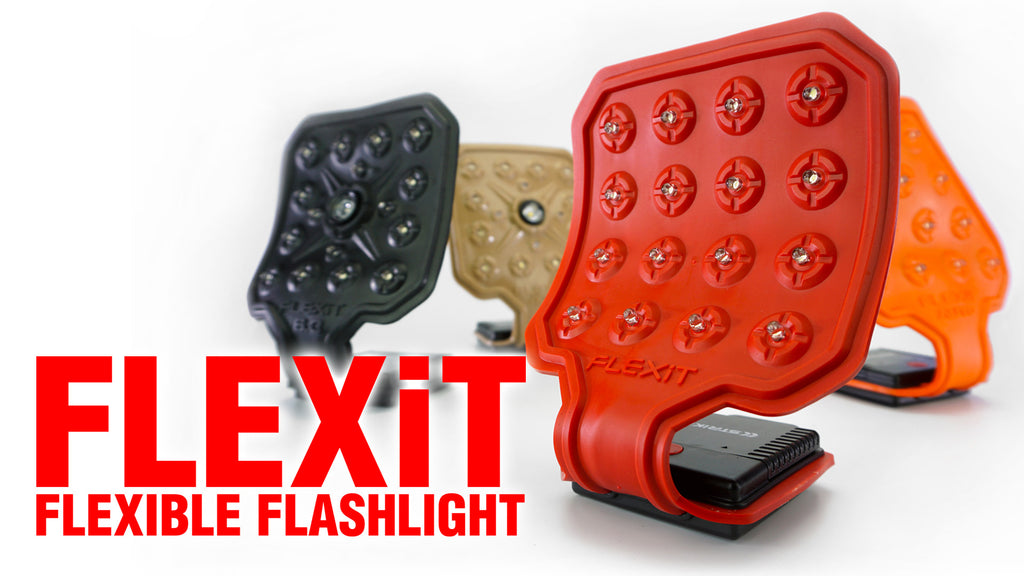 flexit flexible flashilght white poster featuring 4 light models and a title all by STKR Concepts