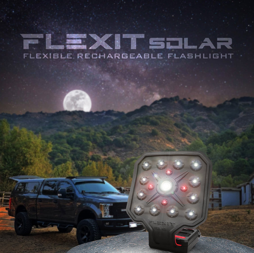 flexit solar flexible rechargeable flashlight moonlit poster w truck and mountains in BG