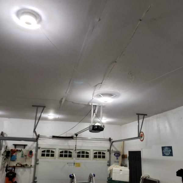 well lit garage with MPI Motion activated garage light LED