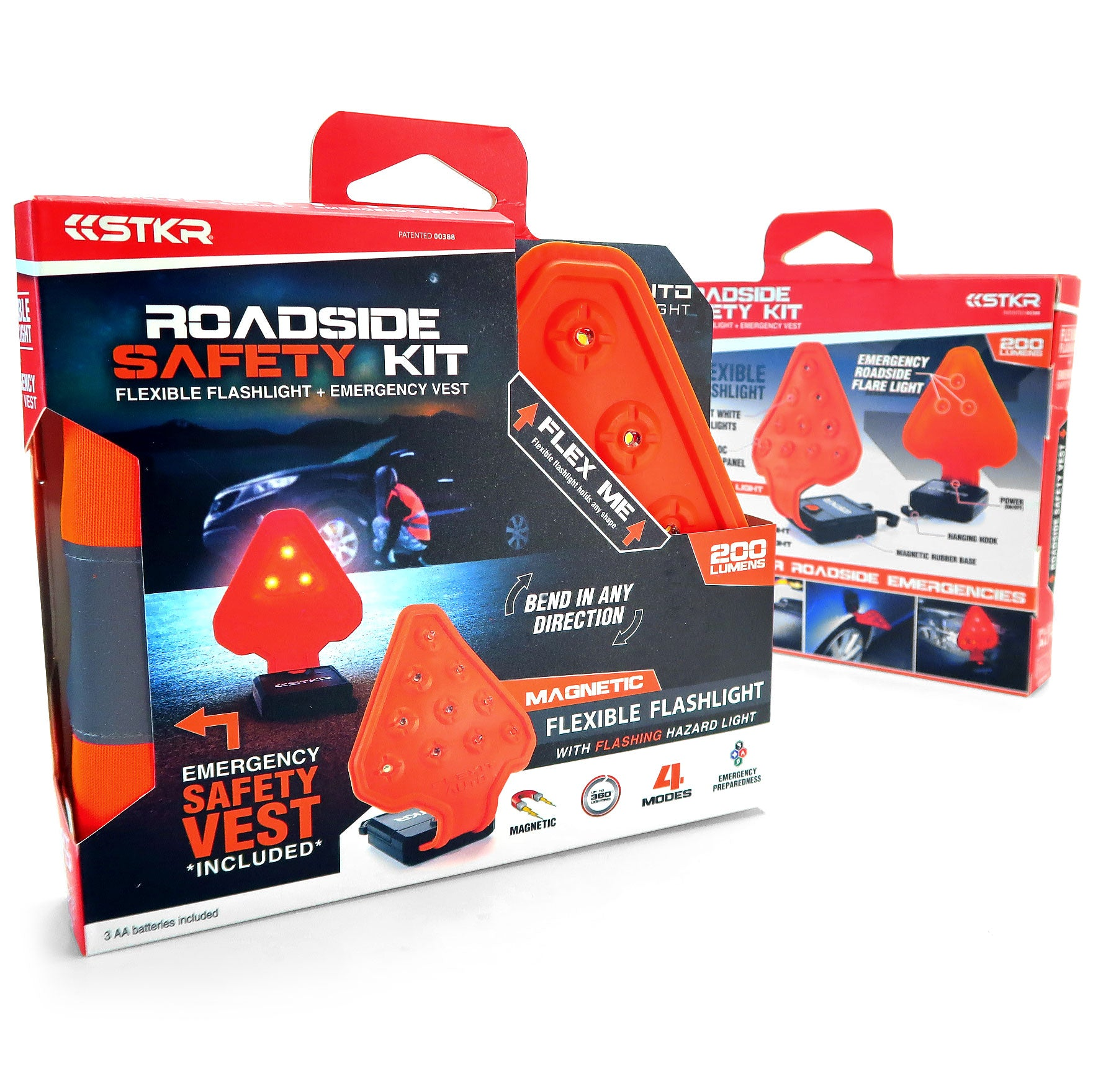 The STKR Concepts FLEXIT Auto Flexible Flashlight with Rear Facing Hazard Light with Roadside Safety Vest - striker