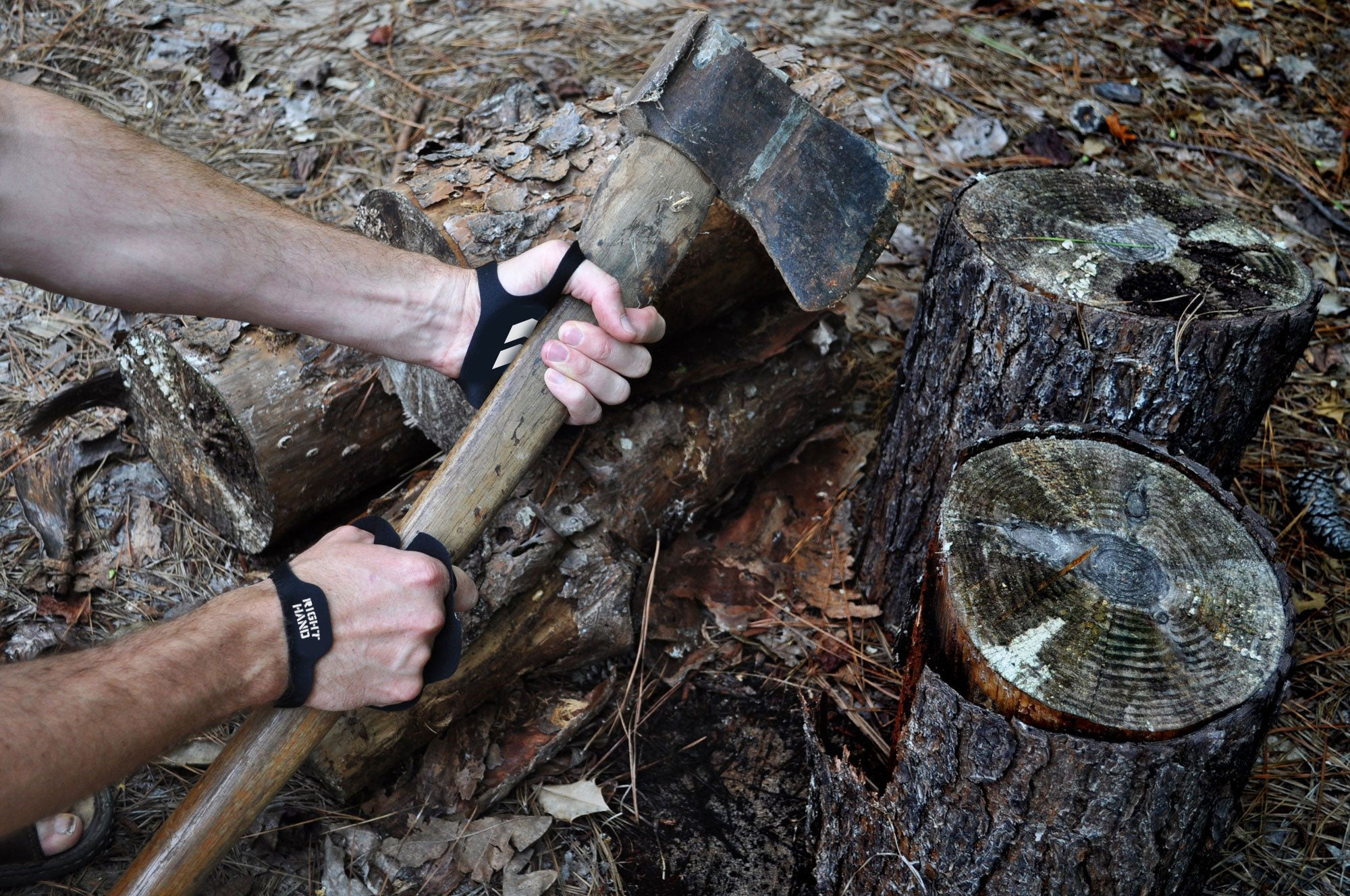 Hand Protection against blisters and vibration when chopping wood with STKR Concepts Tough Skin