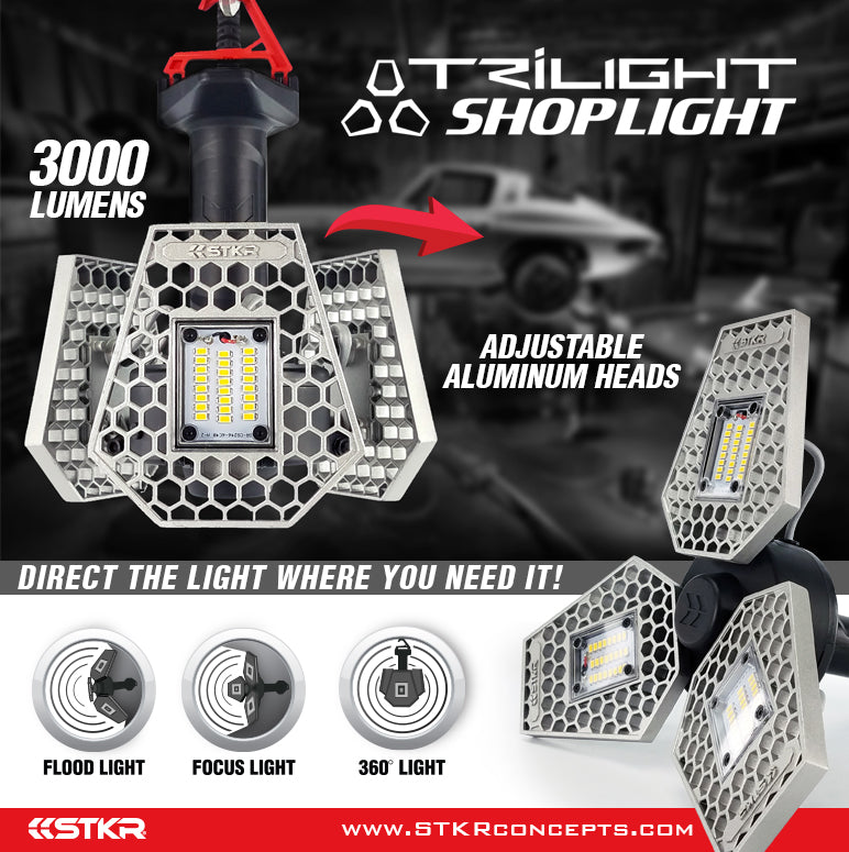 trilight shoplight poster showing two different head adjustments and feature icons 3000 lumens by STKR