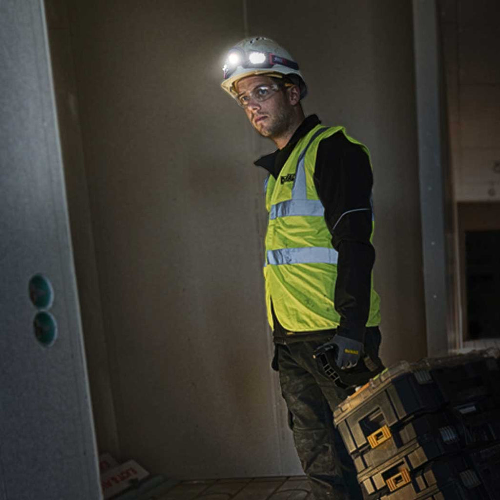 young man wearing hard hat w flexit headlamp 2.5 by STKR Concepts