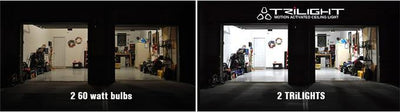 upgrading garage light bulb to a bright LED motion light is easy | TRiLIGHT by STKR Concepts - striker