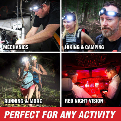 FLEXIT Headlamp Pro perfect for mechanics, hiking, running and red night vision by STKR Concepts
