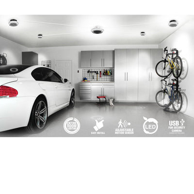 MPI - multi point, motion activated, garage ceiling lighting with 5 points of light