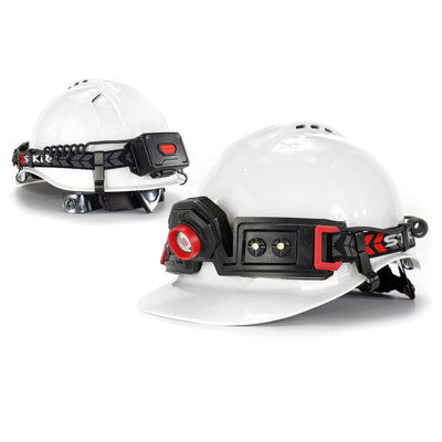 STKR Concepts FLEXIT Headlamp 2.5 on hard hat construction