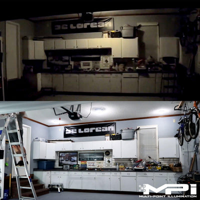 Before and After of MPI Motion Sensor Garage Light installed in garage by STKR Concepts