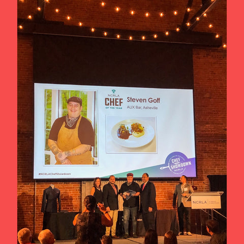 NCRLA Chef of the Year Steven Goff accepting his award