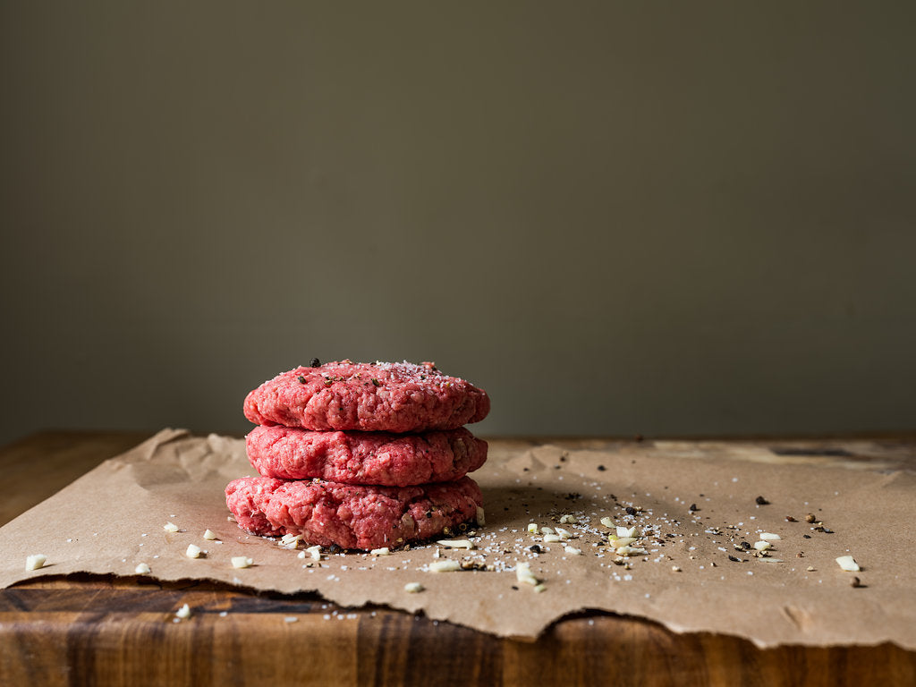 Premade hamburger patties from Shipley's New York Strip Package