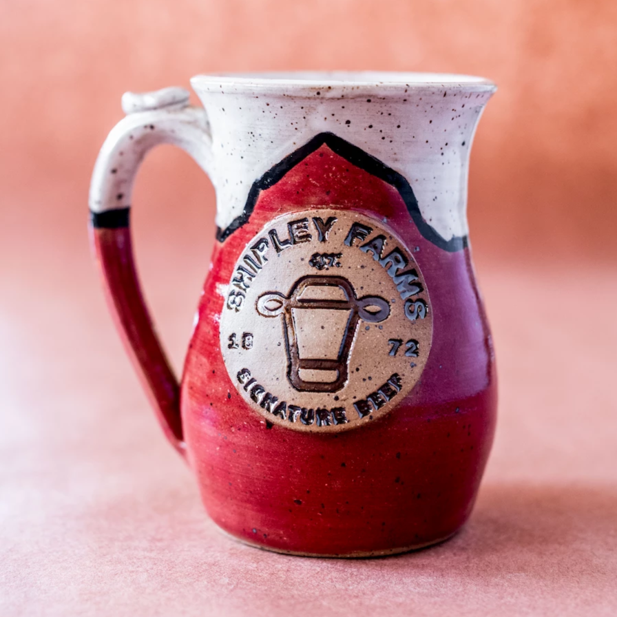 Shipley Farms ceramic mug, red with logo