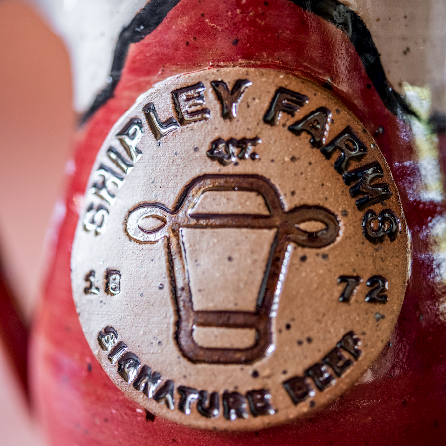 Close up of Shipley Farms logo on mug