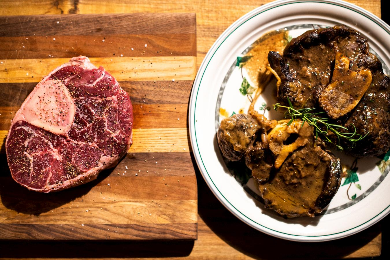 Before and after cuts of beef shank are made into Osso Bucco