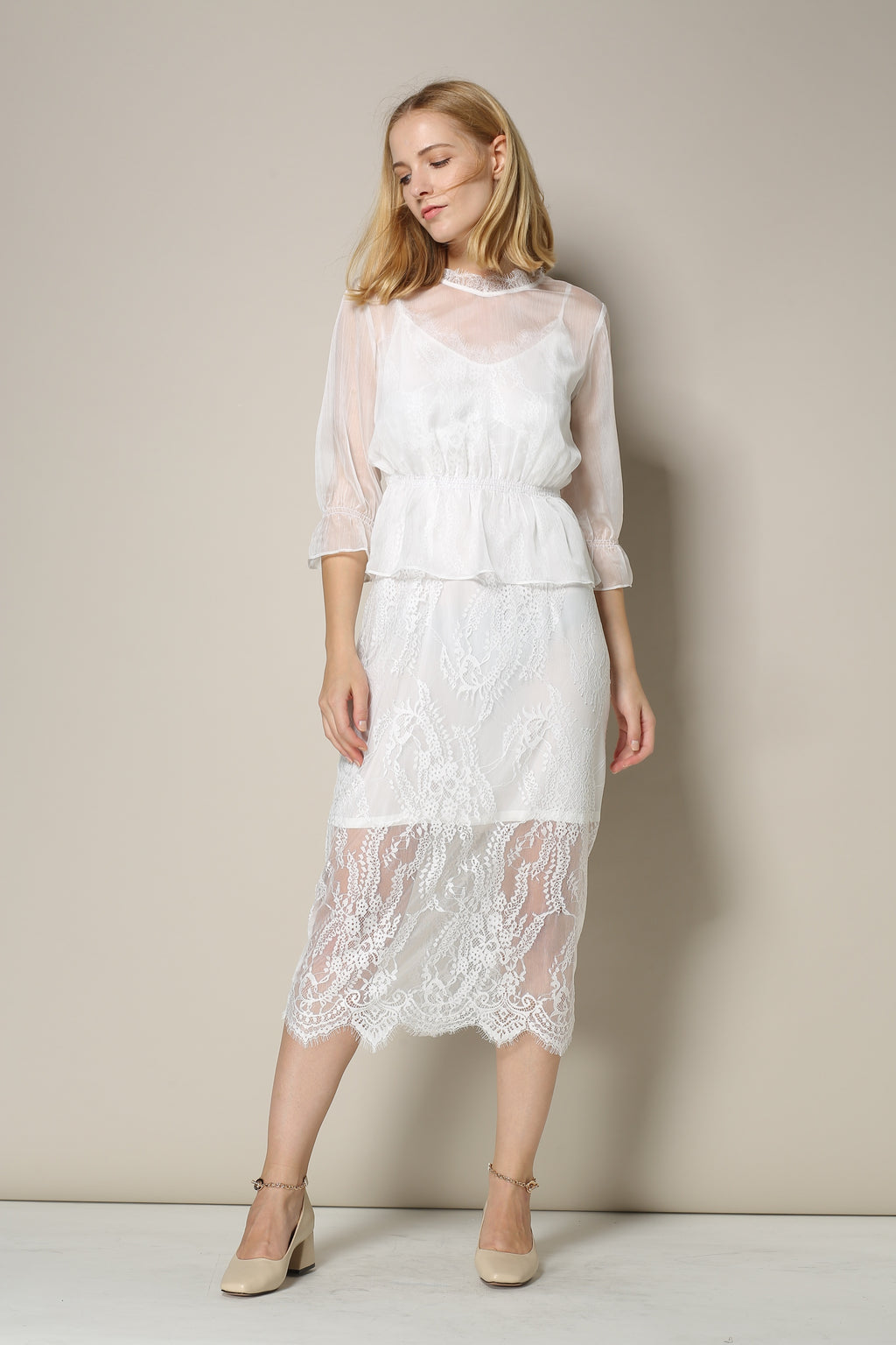 White Sheath Lace Dress With Sheer Shirt