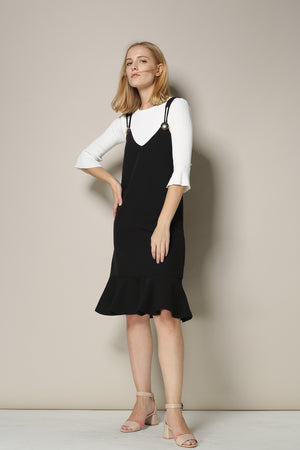 Black Jumper Dress With Ruffle