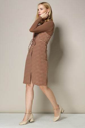 Copper Brown Plaid Jumper Dress With Corset Front