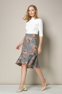 Floral Ruffle Hem Pencil Skirt