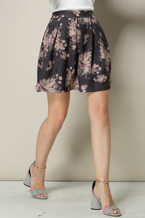 Short Faux Leather Floral Skirt