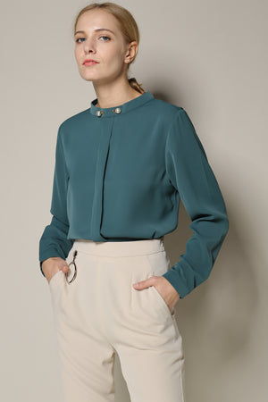 Celadon Green Long-Sleeved Blouse