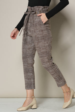 High-Waisted Cropped Tweed Pants