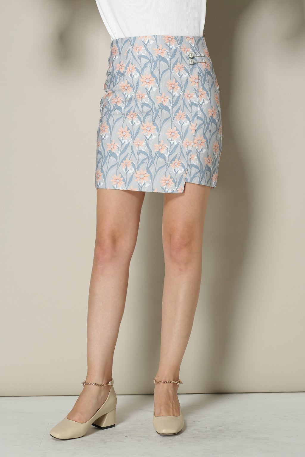 Floral Faux Leather Mini Skirt