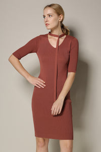 Copper Red Sweater Sheath Dress