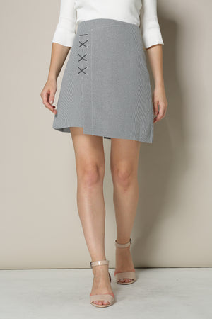 Grey Houndstooth Mini Skirt