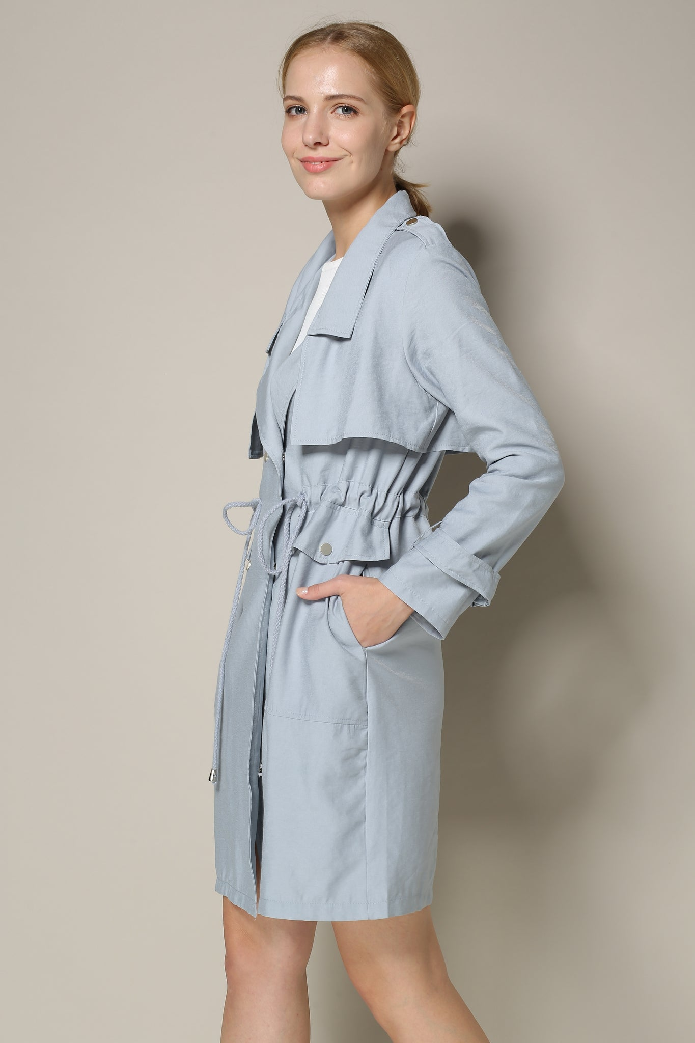 Blue Grey Trench Coat