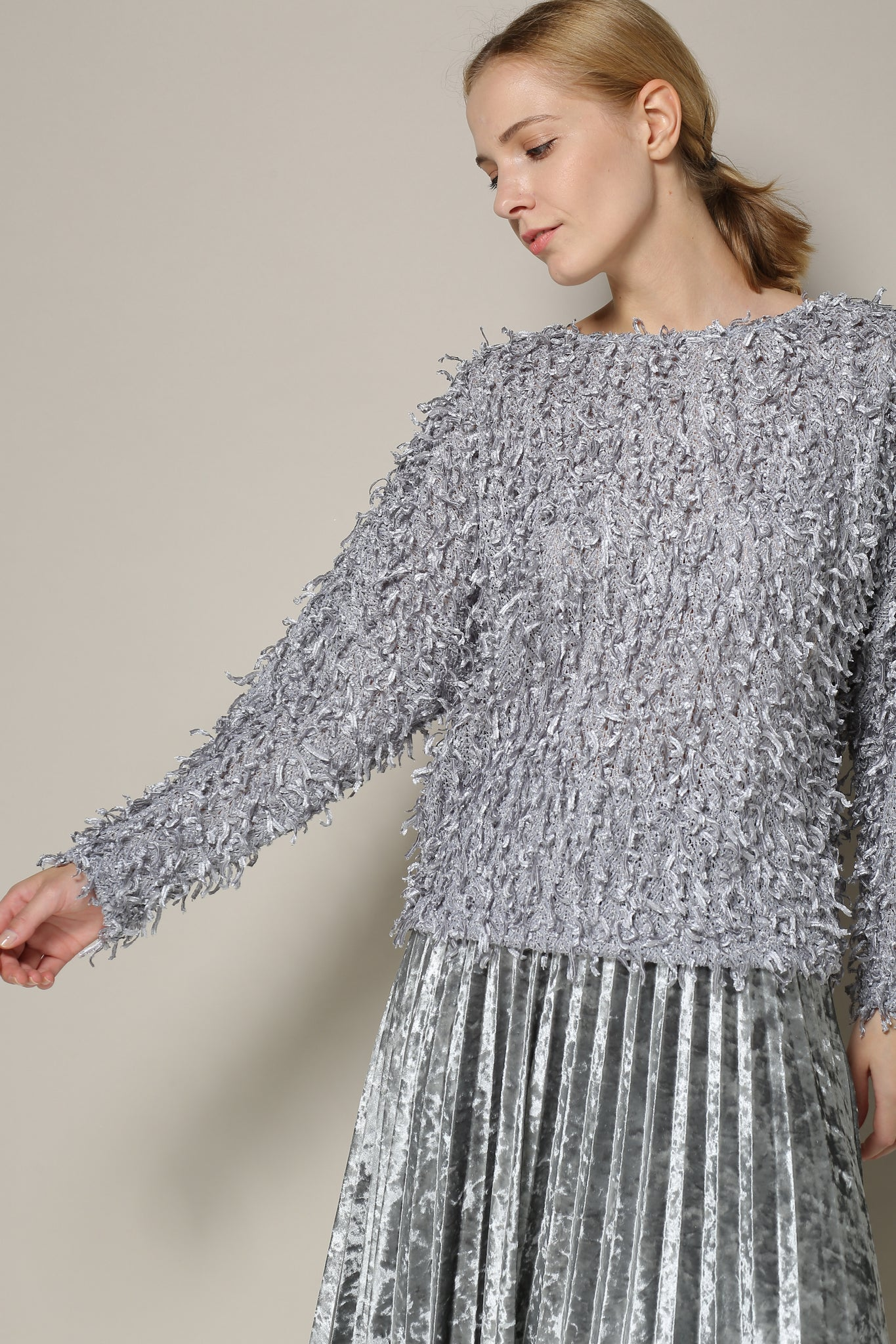 Silver Long-Sleeved Textured Sweater