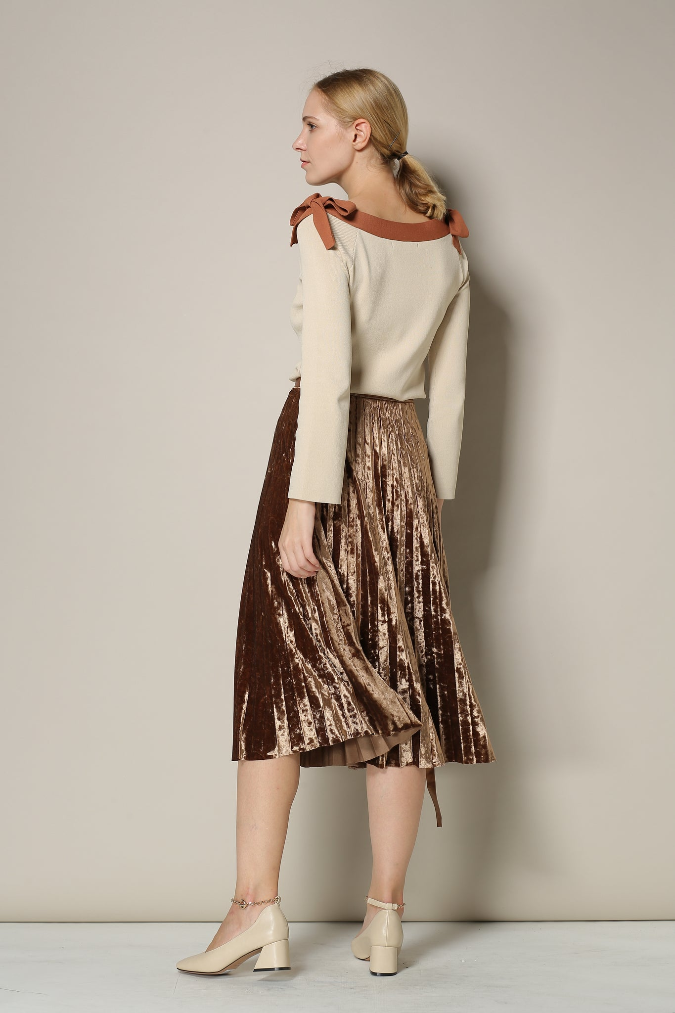 Brown Crushed Velvet Pleated Midi Skirt