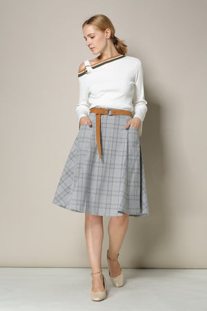 Grey Plaid Midi Skirt