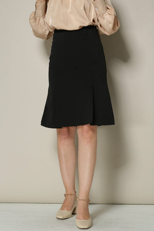 Black Pencil Flare Skirt