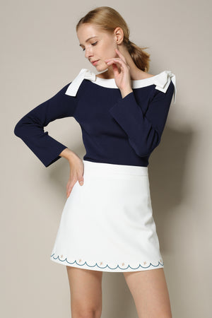 Navy Sweater With White Neckline