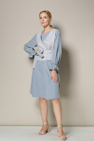 Grey Blue Plain Dress With Houndstooth Vest